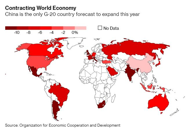 The global economic slump won't be as sharp as previously feared this year, though the recovery is losing pace and needs support, the OECD says
